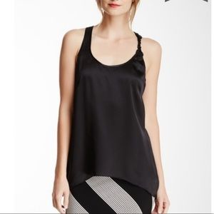 MATTY M Black Twist Strap 100% Silk Tank Top